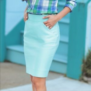 JCrew mint green pencil skirt (cotton)